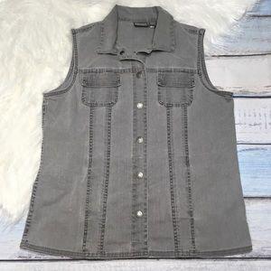 Chico's sleeveless gray jean vest size 2